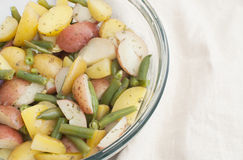 Young potato salad with green beans Stock Image