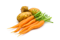 Young Potatoes And Carrots Royalty Free Stock Images