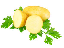 Young potatoes, decorating of parsley . Isolated Royalty Free Stock Photos