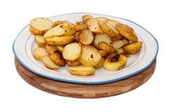 Young potatoes fried and served on the plate Royalty Free Stock Image