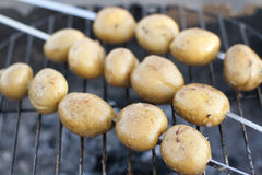 Young potatoes on the grill Royalty Free Stock Image