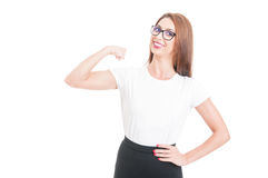Young and powerful lady with glasses Stock Image