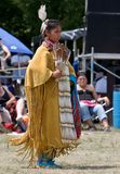 Young Powwow Traditional Buckskin Dancer. Ohsweken, Ontario, Canada, July 27, 2008. A young Traditional or Buckskin Dancer performs during the Grand River stock images