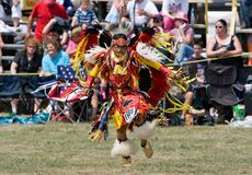 Young Powwow Traditional Dancer. Ohsweken, Ontario, Canada, July 27, 2008. A young Traditional dancerperforms during the Grand River Champion of Champions Powwow royalty free stock photography