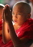 Young praying novice, Myanmar Stock Photo