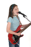 Young Pre Teen Girl Singing With Guitar 7 Stock Photography