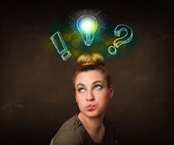 Young preety teenager with hand drawn light bulb Stock Photos