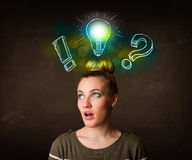 Young preety teenager with  light bulb illustration Royalty Free Stock Photo