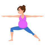 Young pregnancy woman meditation in yoga poses. Young beautiful pregnancy woman character meditation while standing yoga position. Warrior posture. Fitness Royalty Free Stock Photography