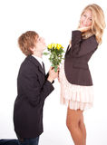 Young pregnant couple, boyfriend begging girl Stock Images