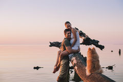 Young pregnant couple in love. On summer sunny evening, with dog stock photography