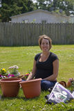Young Pregnant Gardener Stock Photography