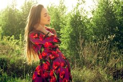 Pregnant girl in dress in nature stock photography