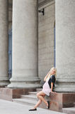 Young Pregnant Girl Posing Beside The Open Space Royalty Free Stock Image