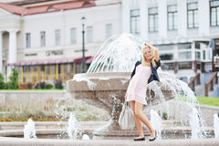 Young Pregnant Girl Posing In The Old Town Stock Image