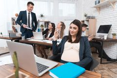 Young pregnant girl is working in office with colleagues. Pregnant businesswoman in office Royalty Free Stock Photography