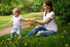 Family. Mother and son in park. Young pregnant mother sits on lawn in city park. Girl holds bouquet of yellow field flowers of dandelions in her hands and holds Royalty Free Stock Photo