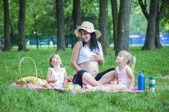 Young pregnant mother with two girls on a picnic playing stock image