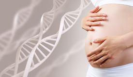 Young pregnant woman caress belly among DNA stem. Healthy pregnancy concept Royalty Free Stock Photography