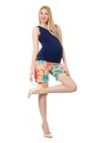Young pregnant woman in colorful clothing isolated Royalty Free Stock Image