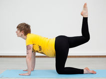 Young pregnant woman doing yoga Stock Photography