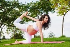 Young pregnant woman doing yoga outdoors. Beautiful young pregnant woman doing yoga in park. One Handed Tiger Eka Hasta Vyaghrasana Stock Images