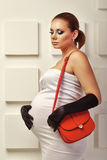 Young pregnant woman in fashionable dress Stock Photography