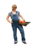 Young pregnant woman with a fruit basket Royalty Free Stock Photography