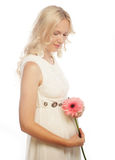 Young pregnant woman with gerber Stock Images