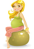 Young pregnant woman at gym ball Stock Photos
