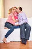 Young pregnant woman, with husband and little daughter Royalty Free Stock Photo