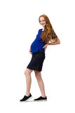 The young pregnant woman isolated on white Stock Photo