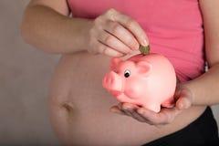 Young pregnant woman keeps pink piggy bank. Young pregnant between 30 and 35 years old woman keeps pink piggy bank. Closeup stock image