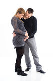 Young pregnant woman and loving father Stock Image