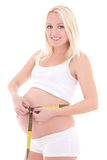 Young pregnant woman measuring belly, isolated on white backgrou Royalty Free Stock Image