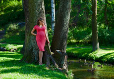 Young pregnant woman in park Stock Photography