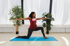 Young pregnant woman practicing yoga royalty free stock images