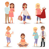 Young pregnant woman, pregnancy female belly expecting beautiful future mother character vector set. Pregnant woman set and pregnant women lifestyle happy Royalty Free Stock Image