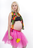 Young Pregnant Woman Ready for the Beach Stock Photography
