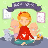 Young pregnant woman relaxing in yoga lotus position with her litle kids, mom yoga vector illustration, cartoon style. Colorful design element for poster or Stock Images