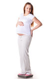 Young  pregnant woman with scales. Stock Images