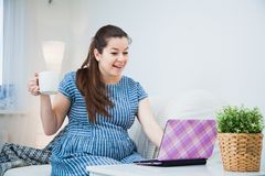 Young pregnant woman shopping online with laptop credit card and smartphone. Preparations before baby birth Royalty Free Stock Image