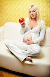 Young pregnant woman sitting on sofa. Young pregnant blond woman eating fresh apple. Sitting on sofa at home in front of luxury gold background stock photos