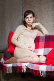 Young pregnant woman sitting on sofa Stock Image