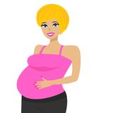 Young pregnant woman on white background Stock Photo