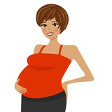 Young pregnant woman on white background Royalty Free Stock Photos