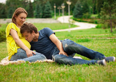Young pregnant woman with young man Stock Photo