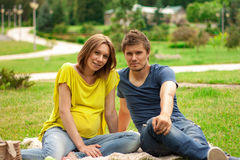 Young pregnant woman with young man Royalty Free Stock Photography