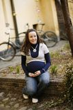 Young pregnant women outdoors. Royalty Free Stock Images