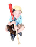 Young preschool boy holding bat. In studio on white background Stock Photos